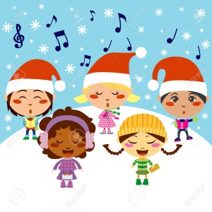 8417753-Five-kids-singing-Christmas-Carols-while-snow-falls-Stock-Vector