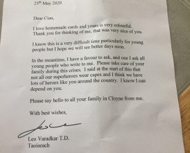 Cian's Letter from the Taoiseach